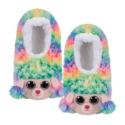 Ty Beanie Babies 95505 Fashion Rainbow Poodle Sequin Slippers Small UK Size 11