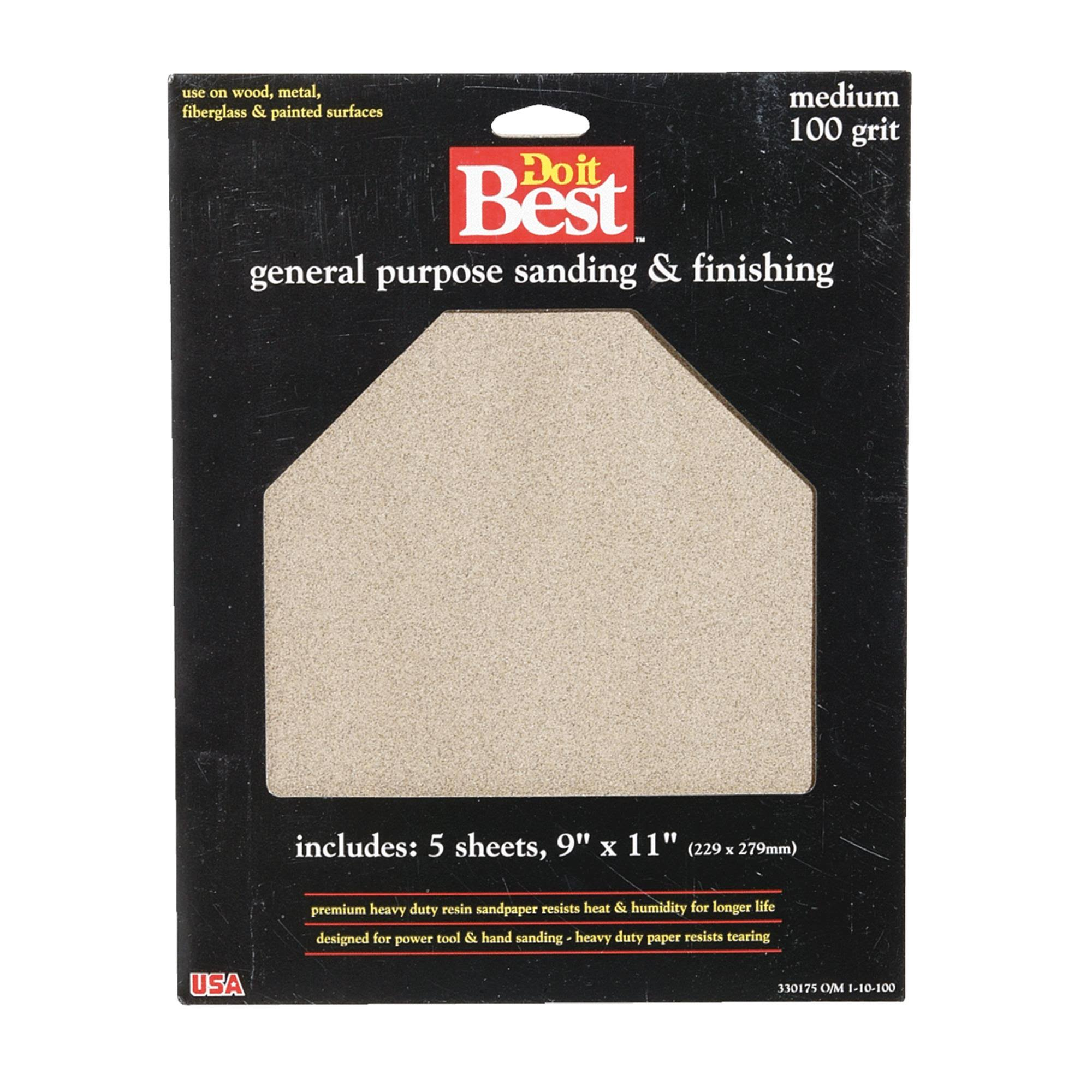 "Do It Best General Purpose Sanding & Finishing Sheets - 9"" x 11"", 5 Sheets"