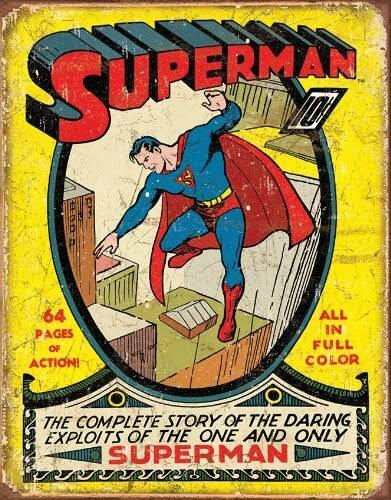 Superman No.1 Cover Metal Tin Sign - 13in X 16in