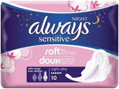 Always Sensitive Sanitary Towels - 10 Pads, Ultra Night