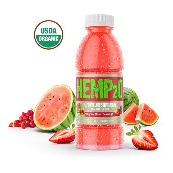 Hemp2o: Watermelon Strawberry Organic Water - 16.9 fl oz bottle