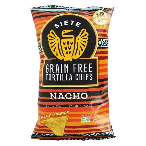 Siete Tortilla Chips, Grain Free, Nacho - 4 oz