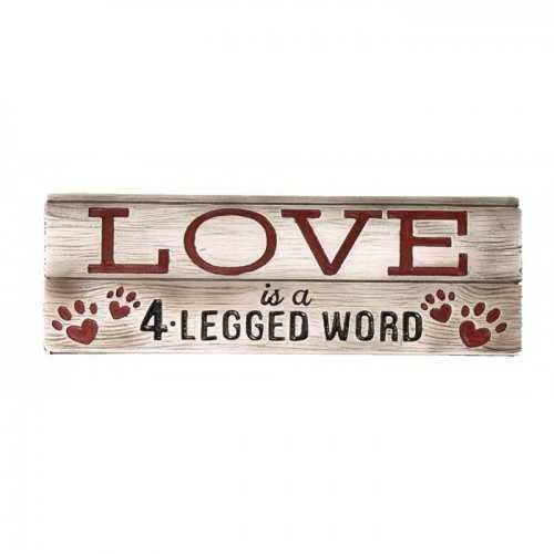 Home Locomotion Love is a 4 Legged Word Decorative Wall Sign - Brown