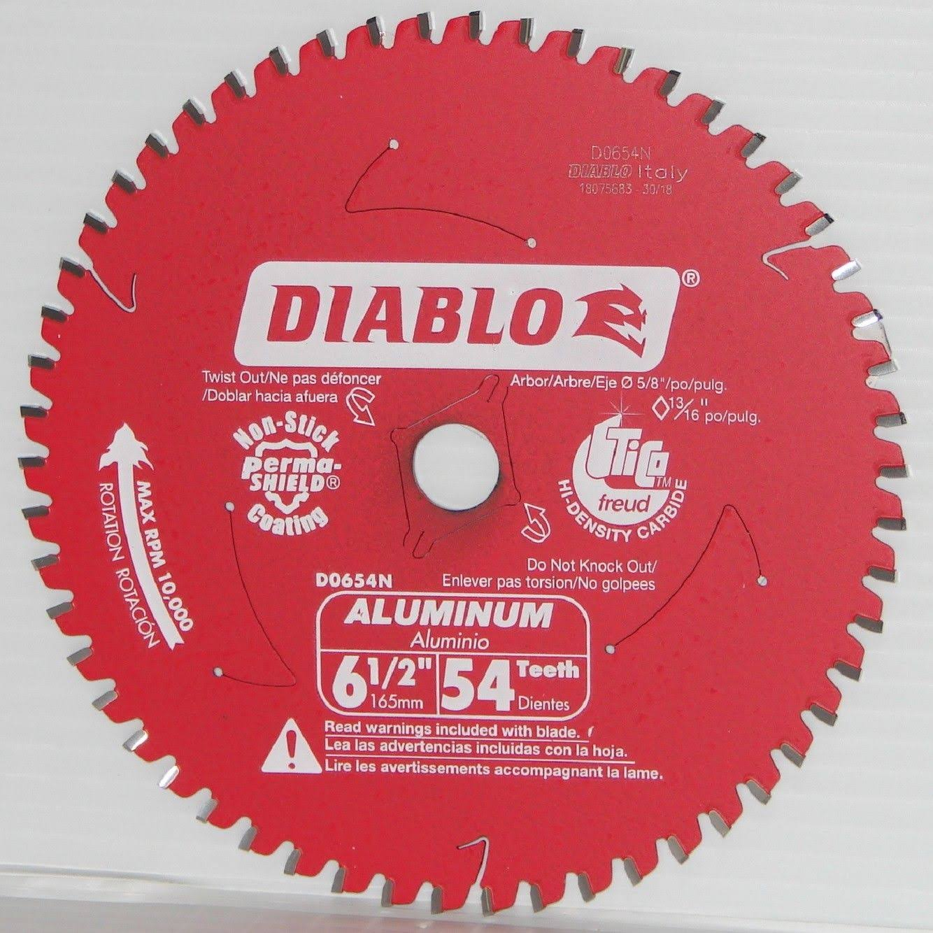 "Diablo D0654N Medium Aluminum Cutting Circular Saw Blade 6-1/2"" x 54T"