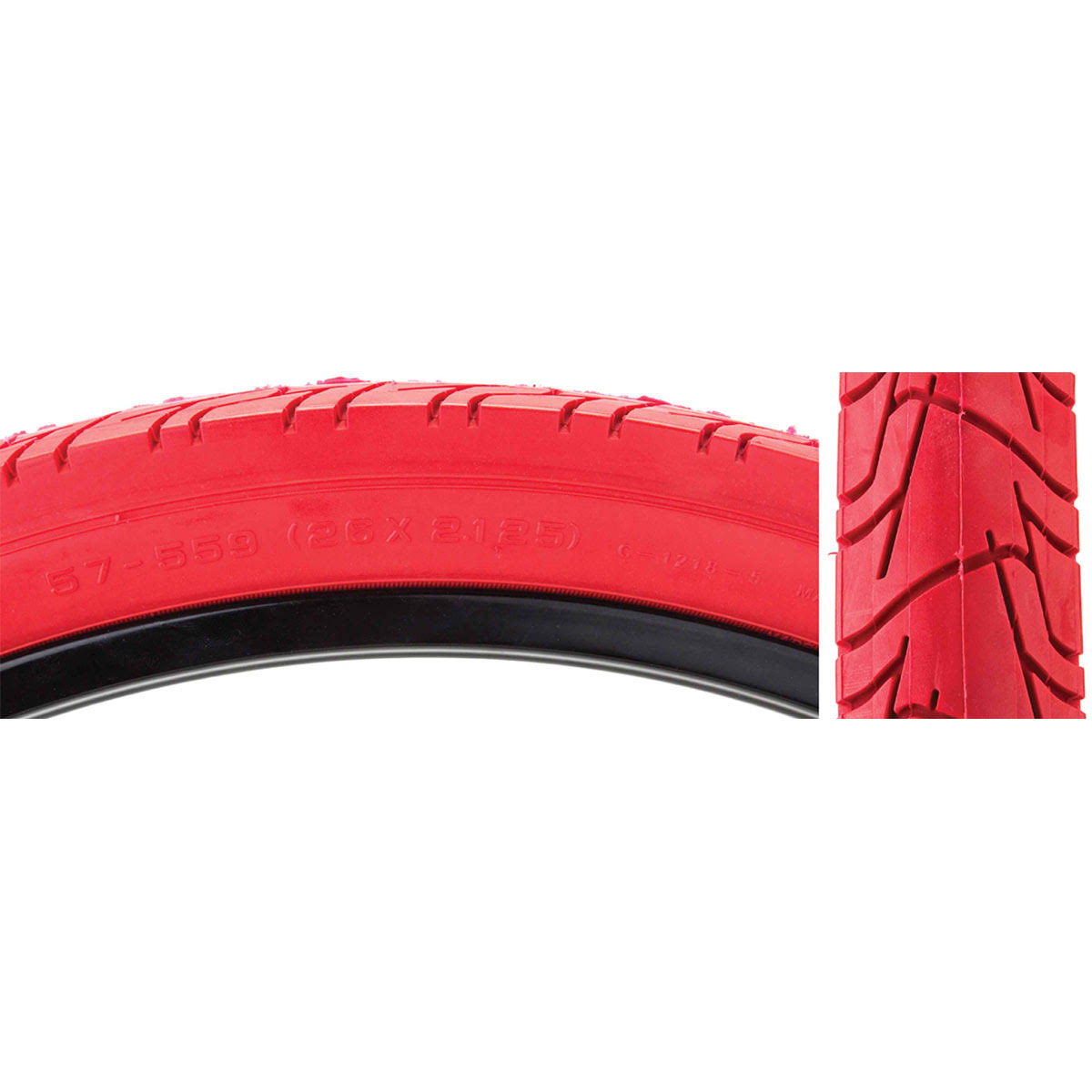 "Sunlite City Cst1218 Tires - 26"" x 2.125"", Red/Red"