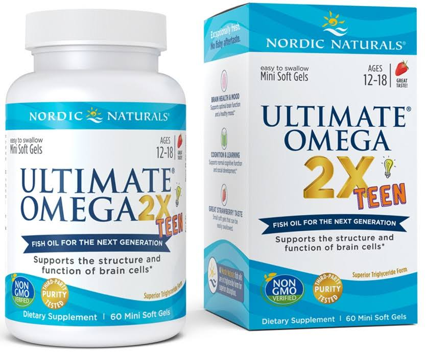 Nordic Naturals Strawberry Ultimate Omega 2x Teen, 60 Softgels