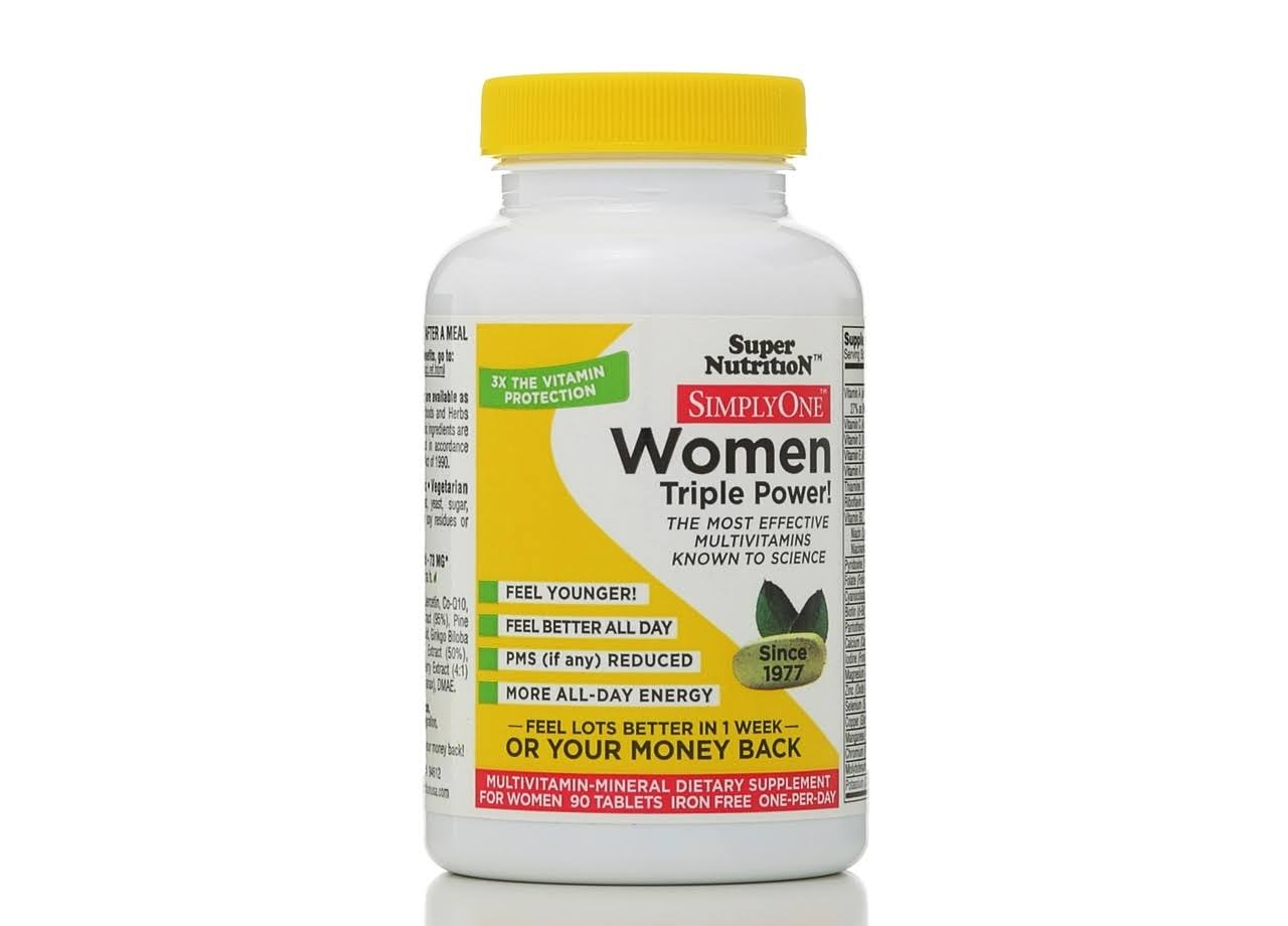 SuperNutrition Simply One Women's Triple Power Iron Free Multivitamin Dietary Supplement - 90ct