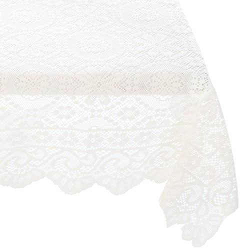 Lorraine Home Fashions Hopewell Oblong Tablecloth 58 x 84 Inches Cream