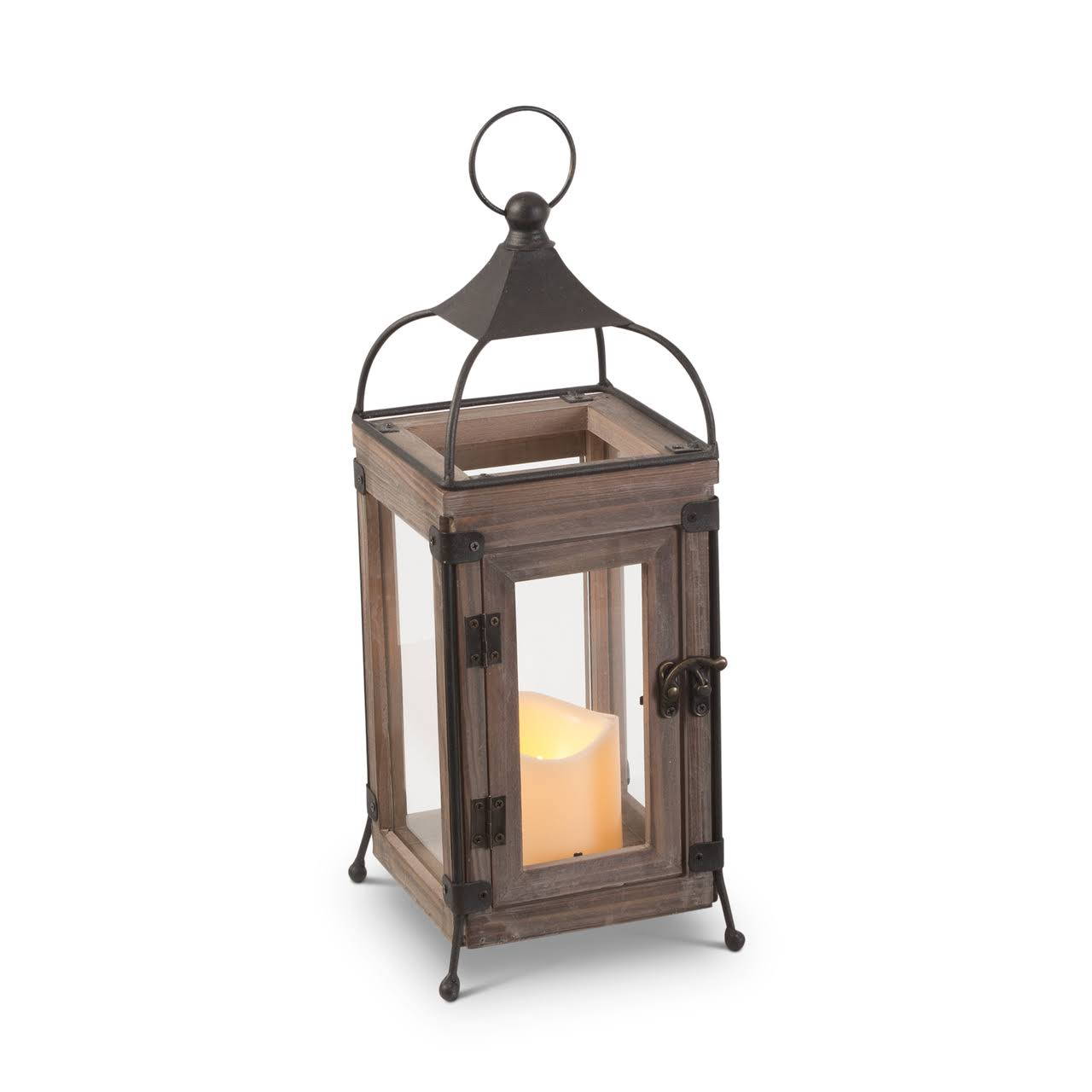 "Everlasting Glow Wood & Wire LED Lantern 14""H"