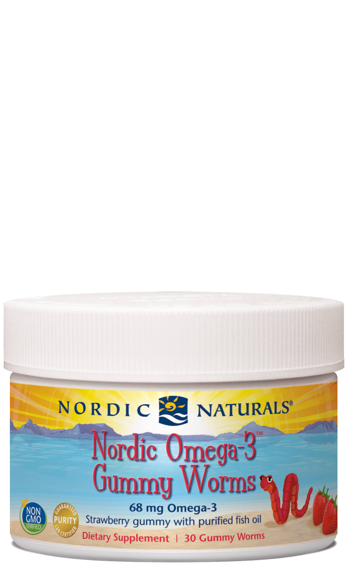 Nordic Naturals Omega-3 Gummy Worms Dietary Supplement - Strawberry, 30ct