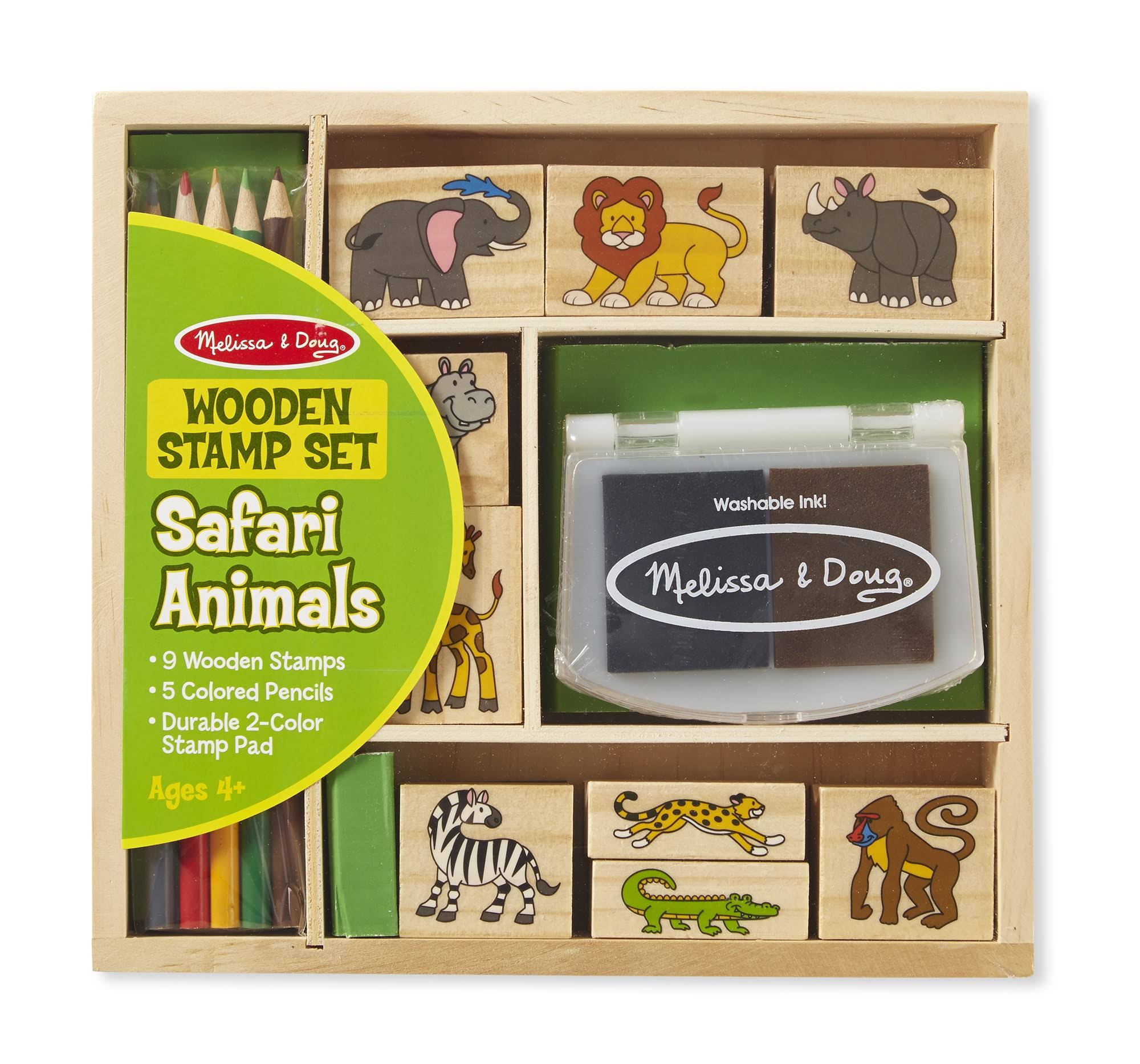 Melissa & Doug - Wooden Stamp Set - Safari Animals