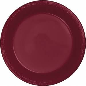 Creative Converting Touch of Color Plastic Lunch Plates - Burgundy, 20 Plates