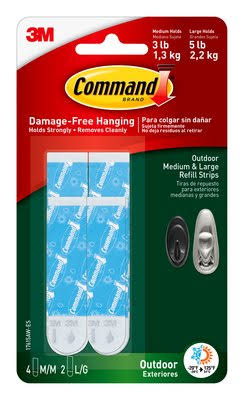 Command Outdoor Foam Strip Refills - 6 Strips, Medium and Large