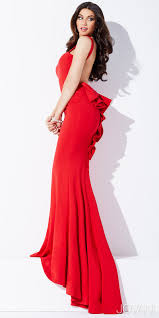 prom dress red open back prom gown ruffle back low back
