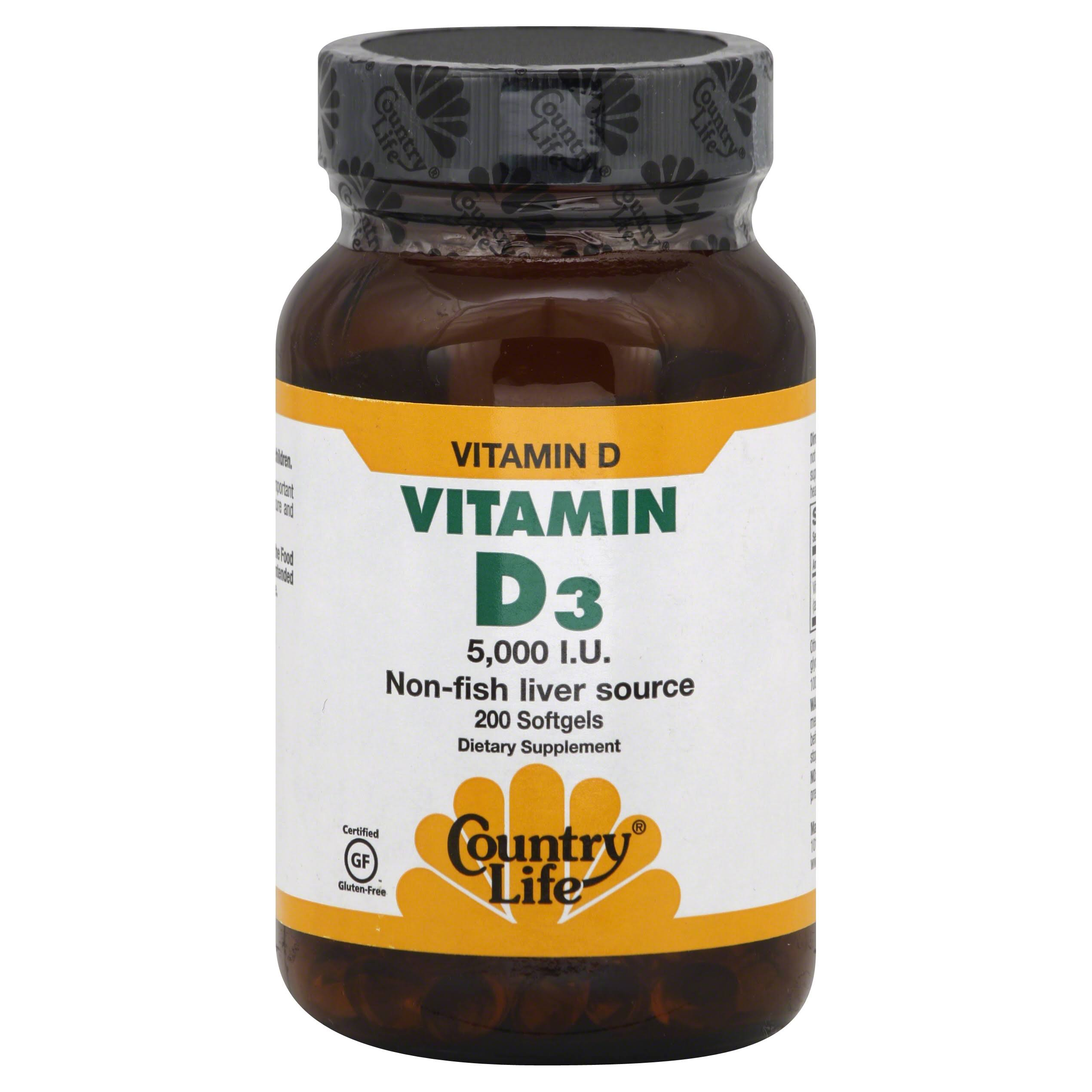 Country Life Vitamin D3 - 5000 IU, 200 Softgels