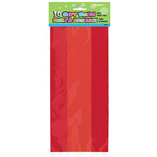 Unique Cello Gift Bags Party Supplies - Ruby Red, 30pk