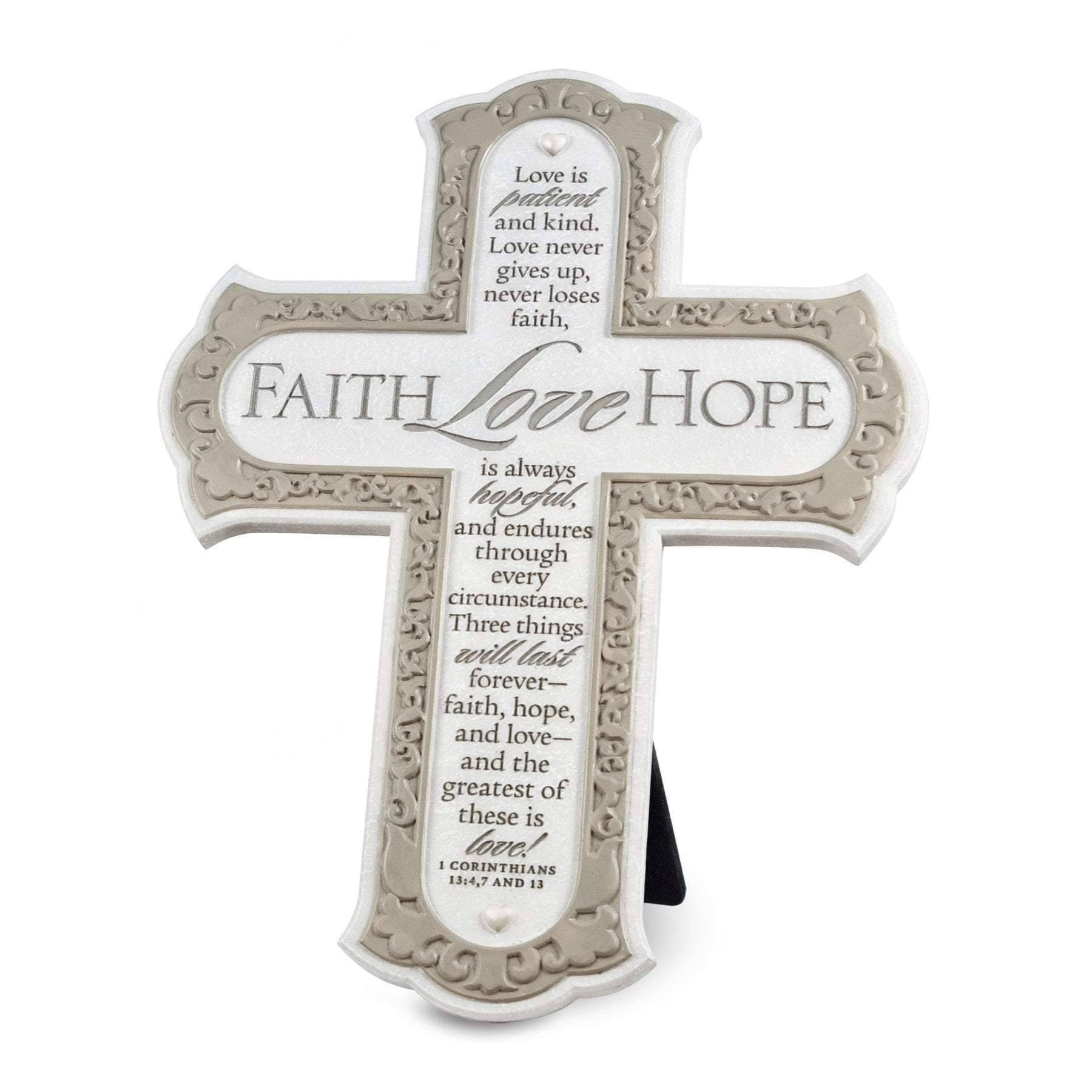 Lighthouse Christian Products Faith Hope Love Wall Desktop Cross - 8""