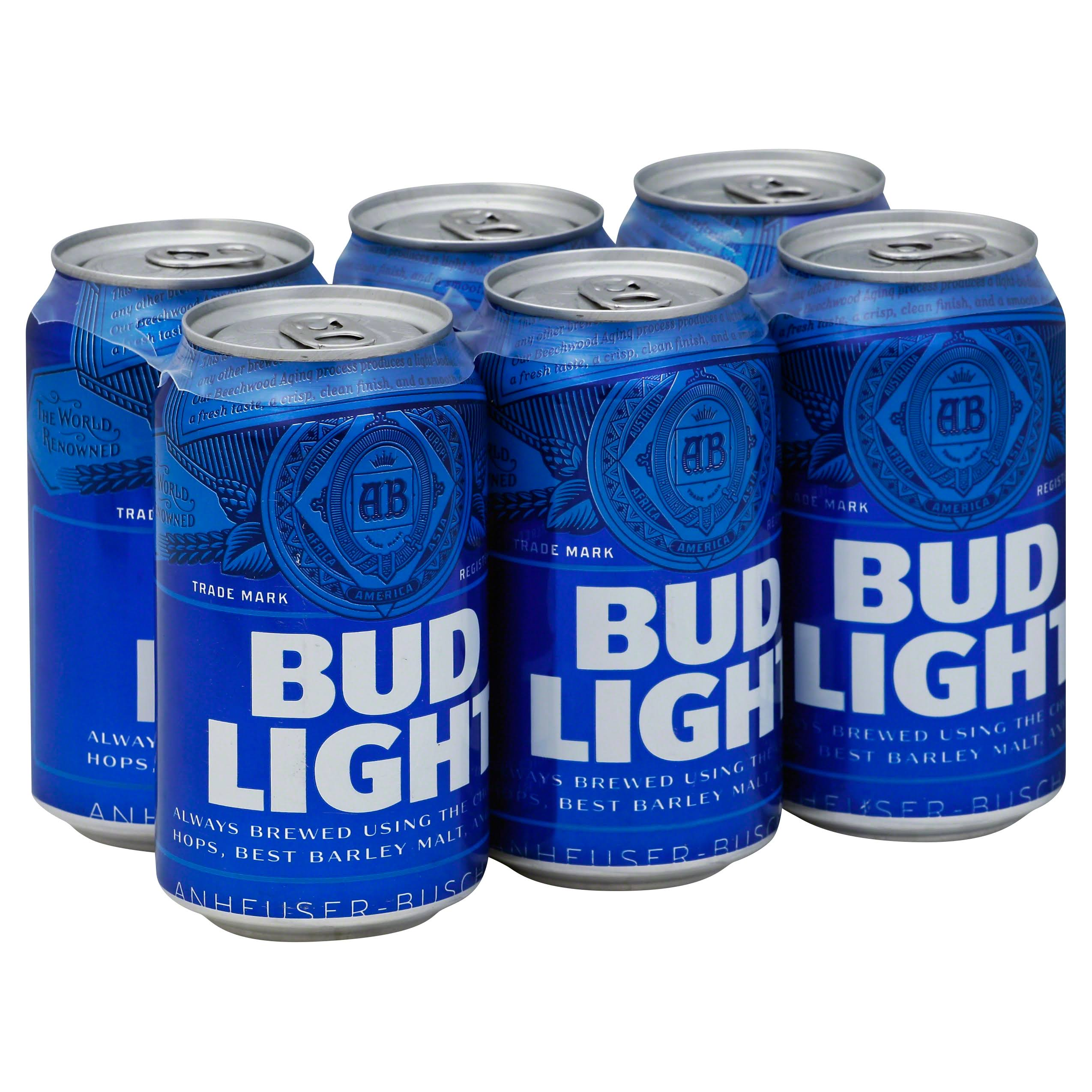 Bud Light Beer, Lager - 6 pack, 12 fl oz cans