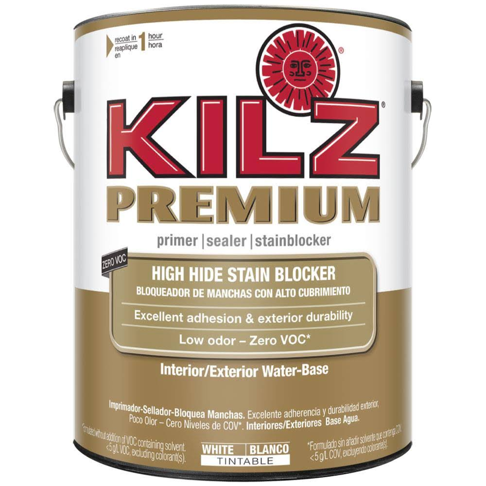 KILZ Premium High-Hide Stain Blocking Interior Exterior Latex Primer Sealer - White, 1 Gallon