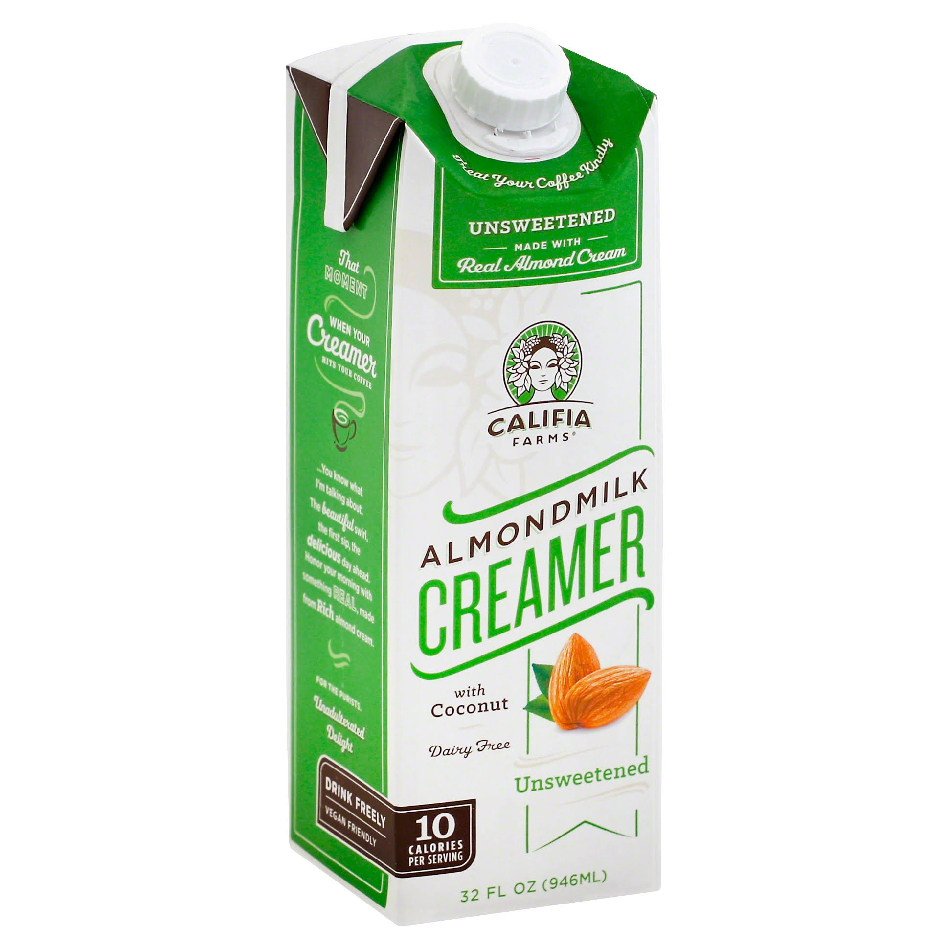 Califia Farms Almond Milk Creamer, Unsweetened - 32 fl oz carton
