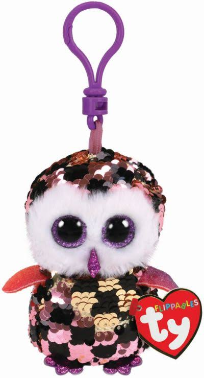 Ty Beanie Babies Flippables Key Clip - Checks Owl