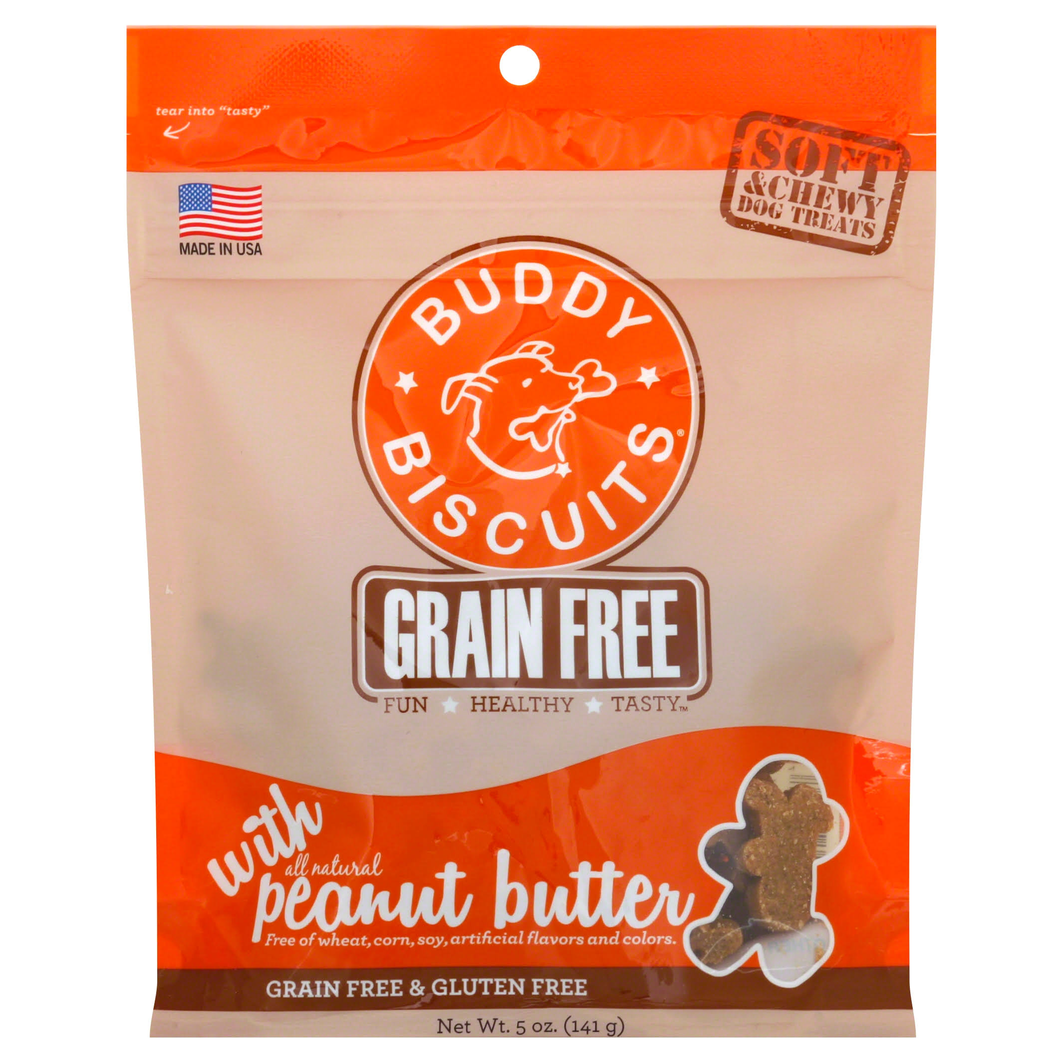 Cloud Star Grain Free Soft & Chewy Buddy Biscuits Dog Treats - Peanut Butter, 142g