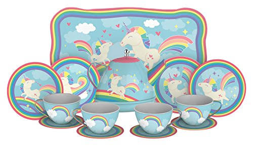 Schylling Unicorn Play Tea Toyset - Child Size Teacups, Saucers, and Serving Tray