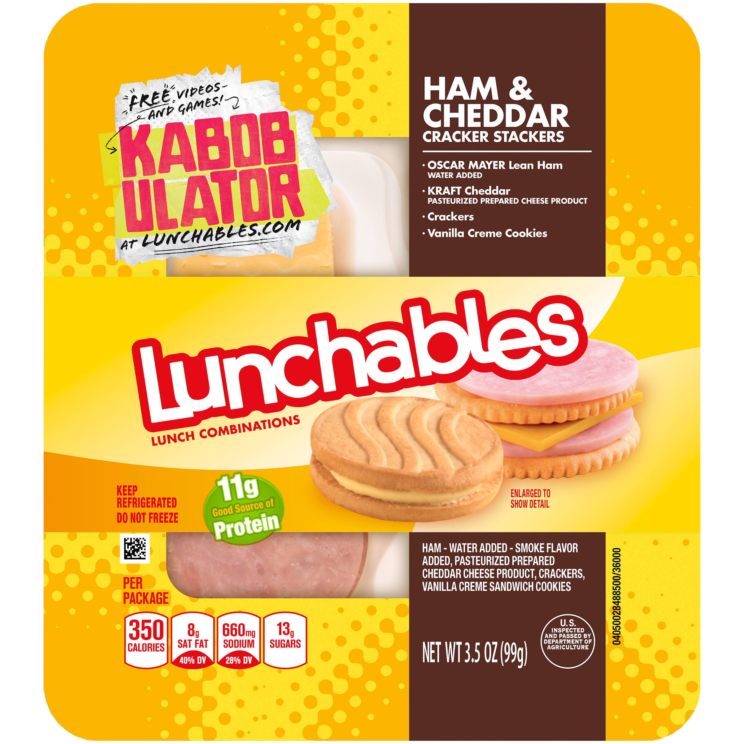 Lunchables Cracker Stackers Lunch Combinations - Ham & Cheddar, 3.5oz