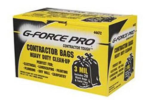 "G-Force Pro Contractor Tough Heavy Duty Clean-Up Bags - Black, 32"" x 50"""