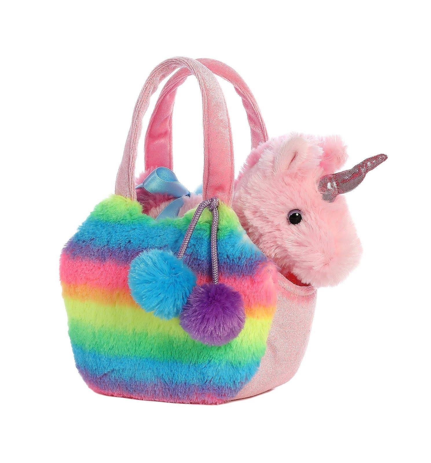 Aurora World Fancy Pals Pet Unicorn Carrier Plush Rainbow