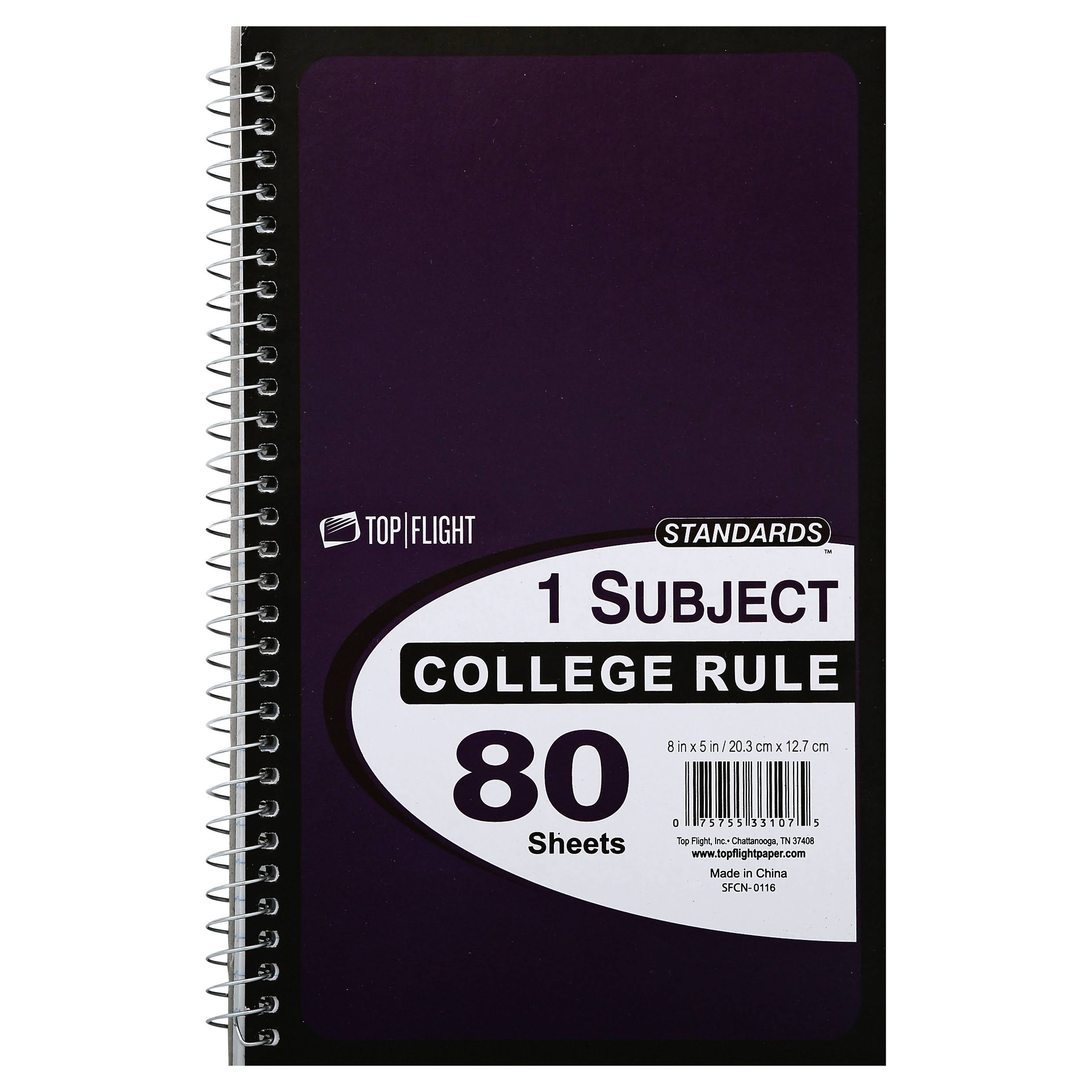 Top Flight Standards 1 Subject College Rule Notebook