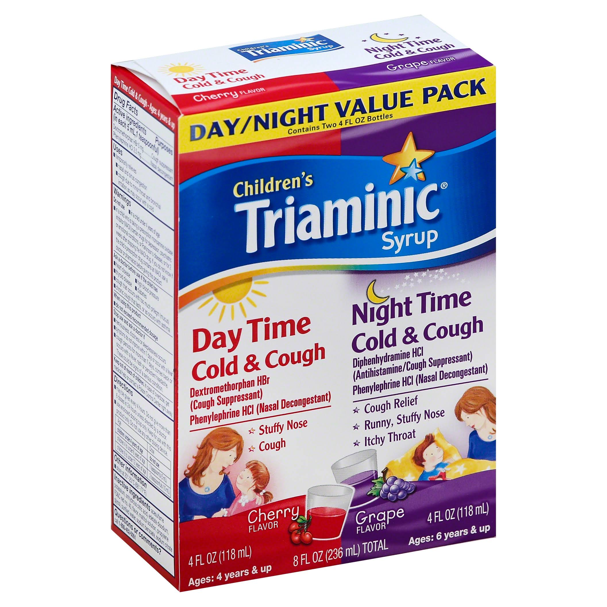 Triaminic Children's Day Time and Night Time Cold and Cough Syrup - 4oz, Grape and Cherry
