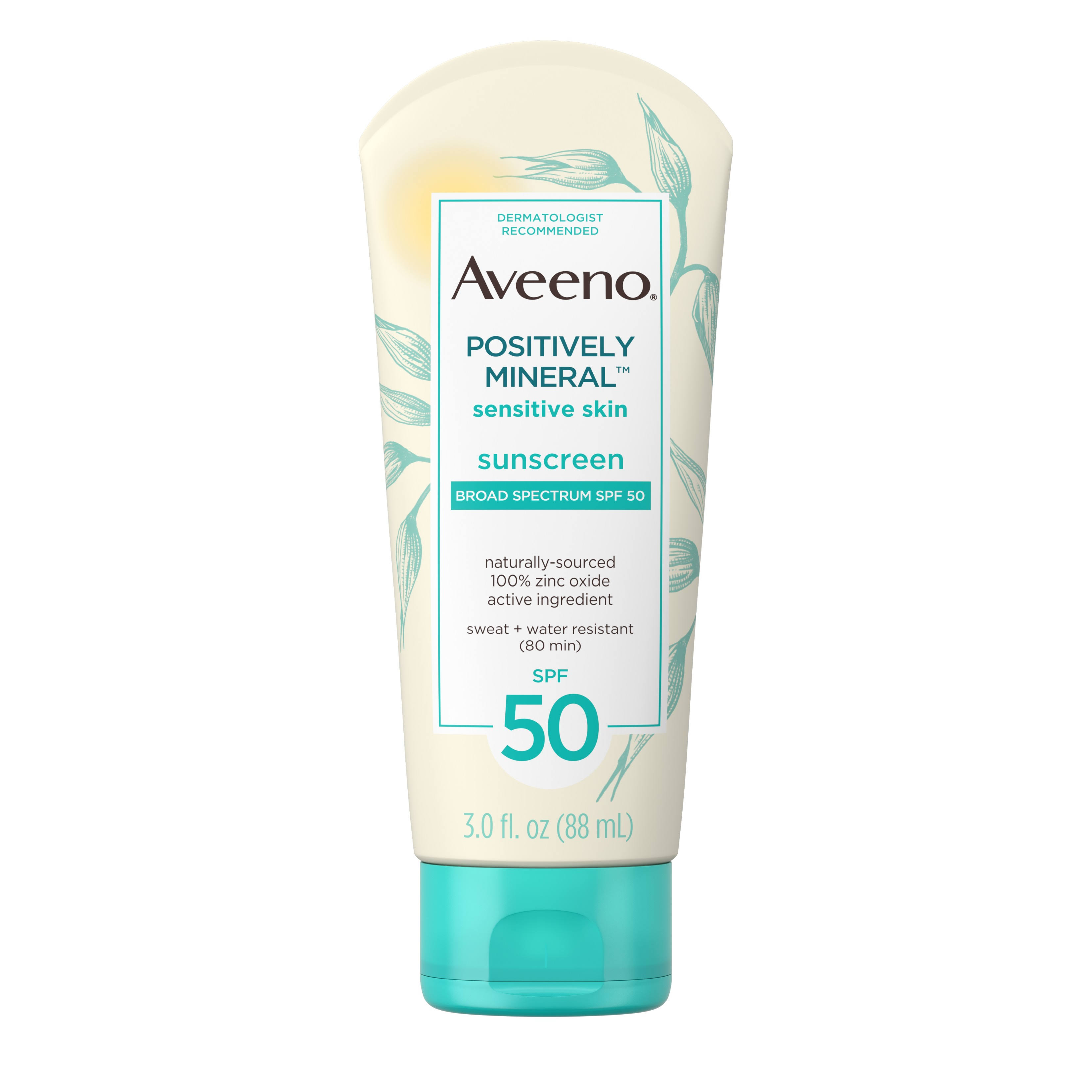 Aveeno Positively Mineral Sunscreen, Broad Spectrum SPF 50 - 3.0 fl oz