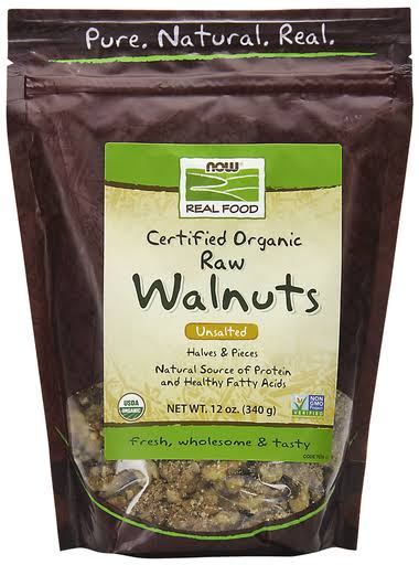 Now Foods Certified Organic Walnuts - Raw, Halves and Pieces, Unsalted, 12oz
