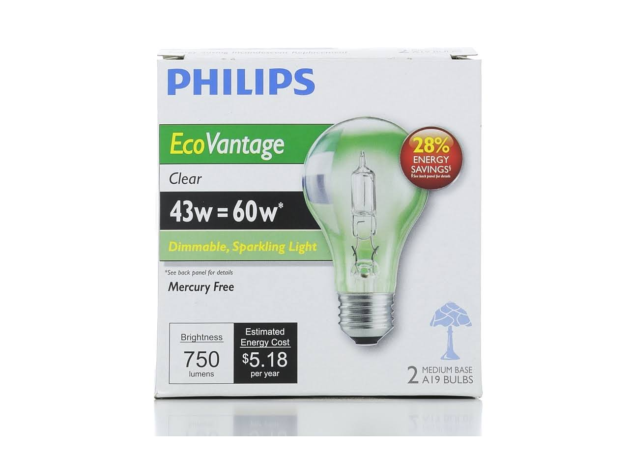 Philips Light Bulb - 43W, A19, Clear