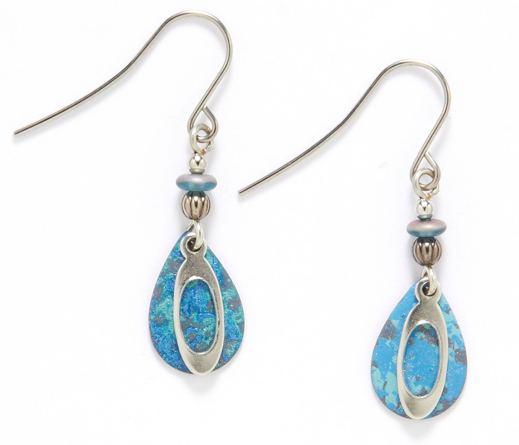 Silver Forest Blue Teardrop Earrings - Silver