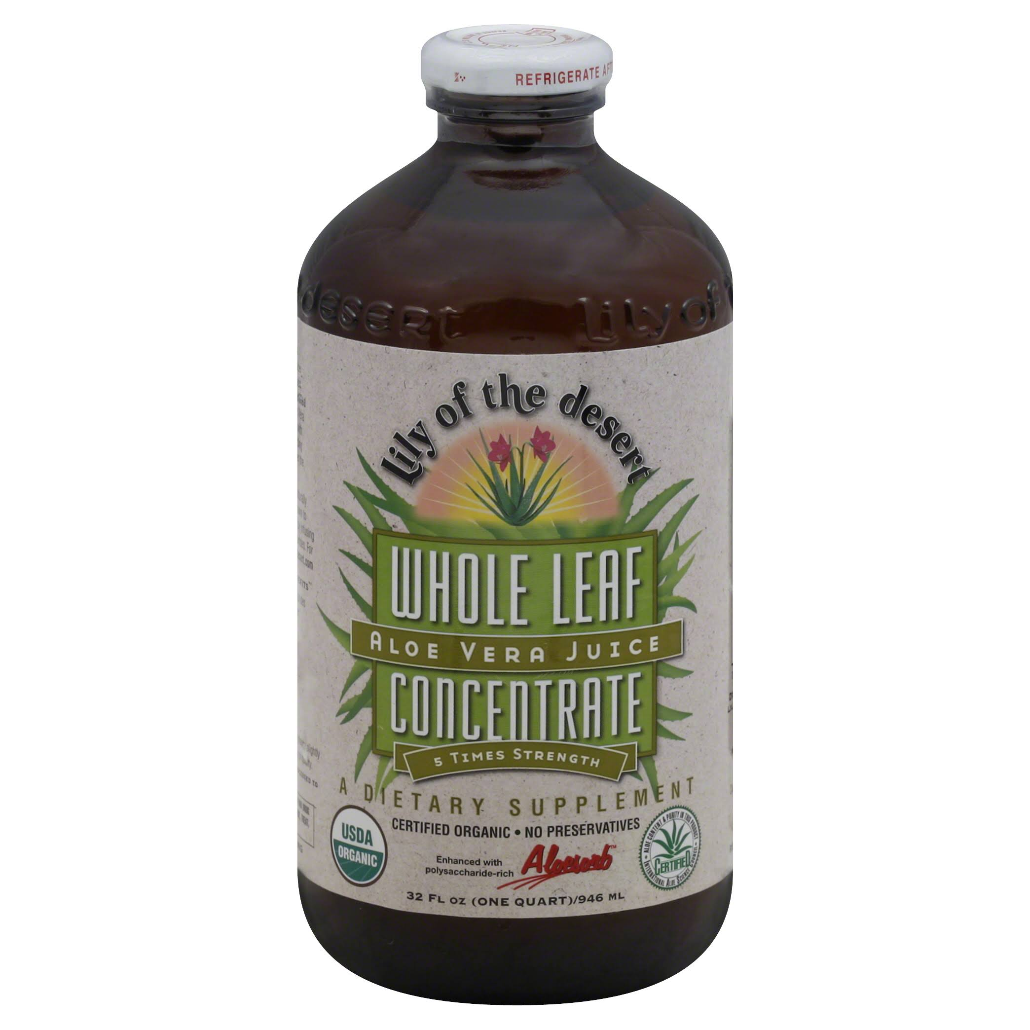 Lily of The Desert Aloe Vera Juice Whole Leaf Concentrate Supplement - 32oz