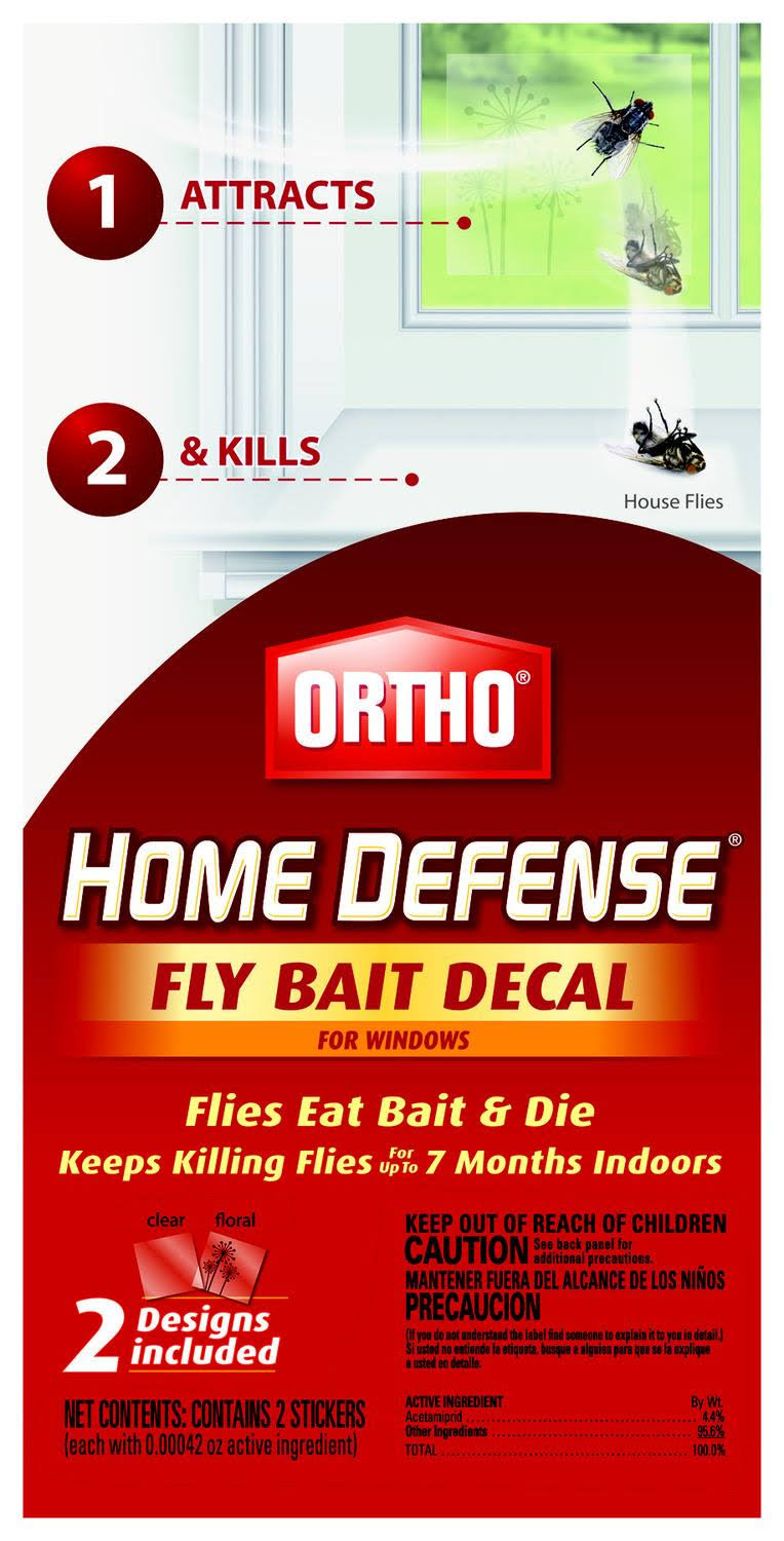 ORTHO Home Defense Fly Killer Window Decal - x2