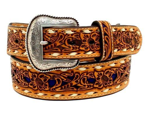 Nocona Inlay Floral Lacing Western Belt - Tan, Size 38