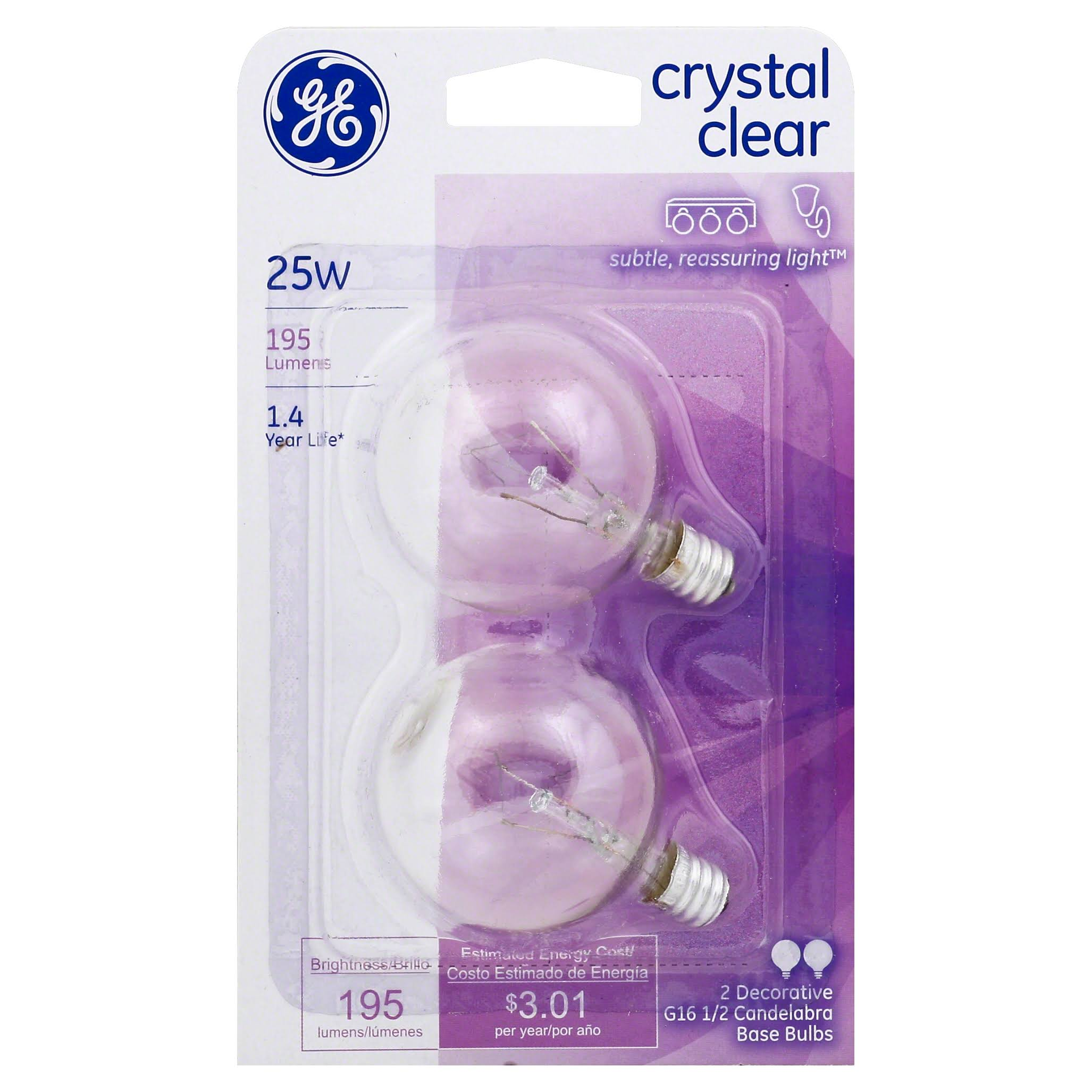 GE Lighting Light Bulb - 25W, Crystal Clear, 2 Bulbs