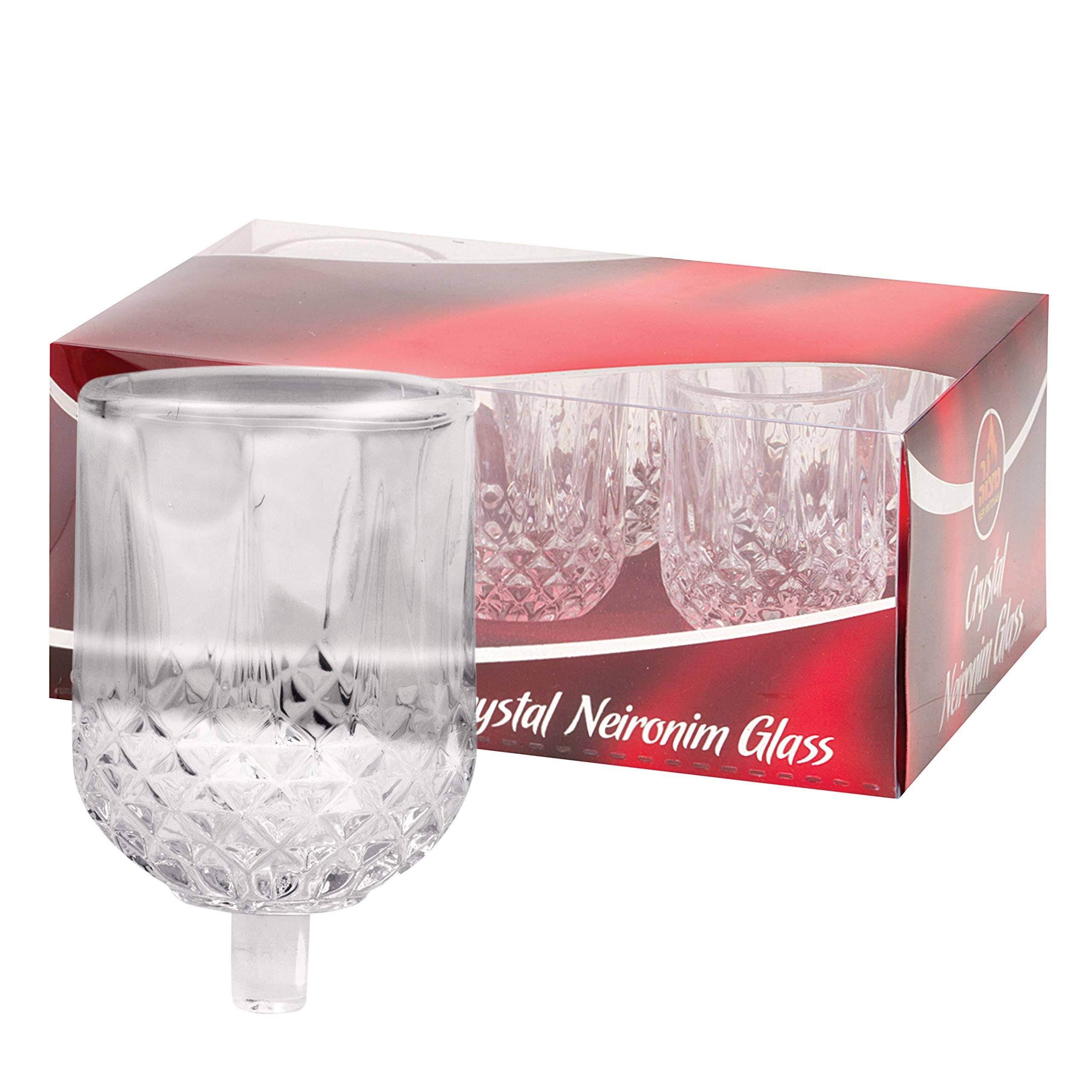 NER Mitzvah Neironim Crystal Shabbos Candle Holders - 6 Pack - Premium Quality Clear Votive Cups, Standard Size for Shabbat, Chanukah and Party