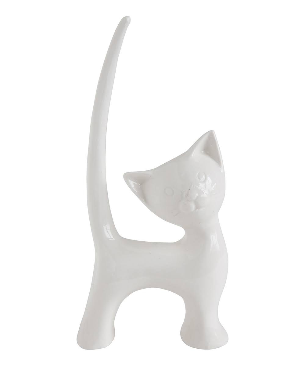 Creative Co-op White Stoneware Cat Ring Holder