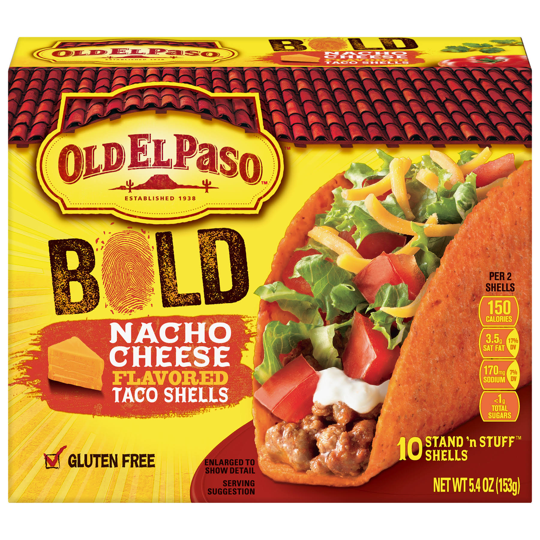 Old El Paso Bold Stand N Stuff Taco Shells - Nacho Cheese Flavor, 5.4oz, 10ct