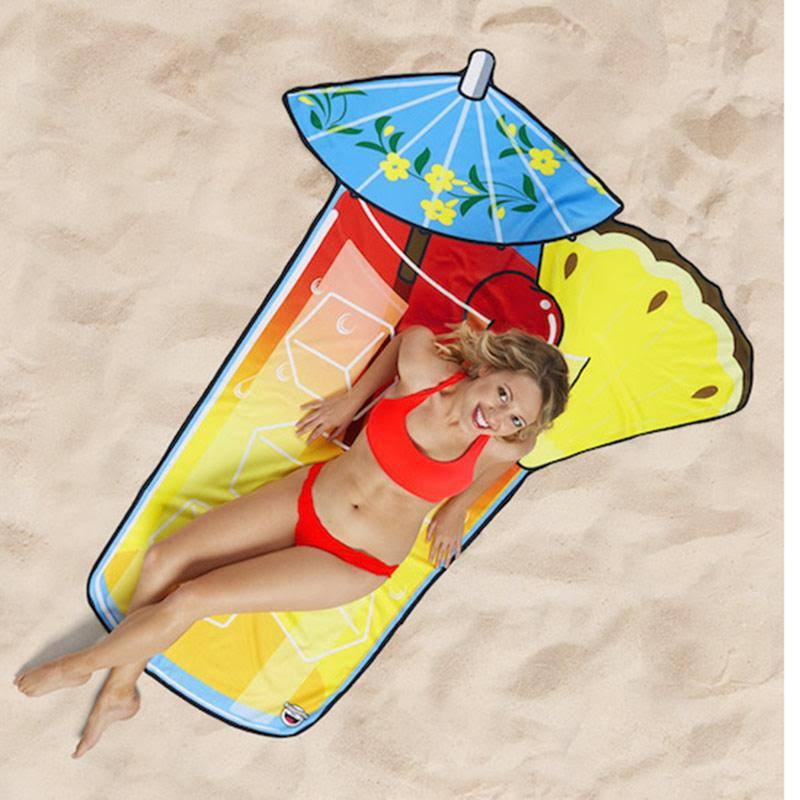 Big Mouth Tropical Drink Beach Blanket