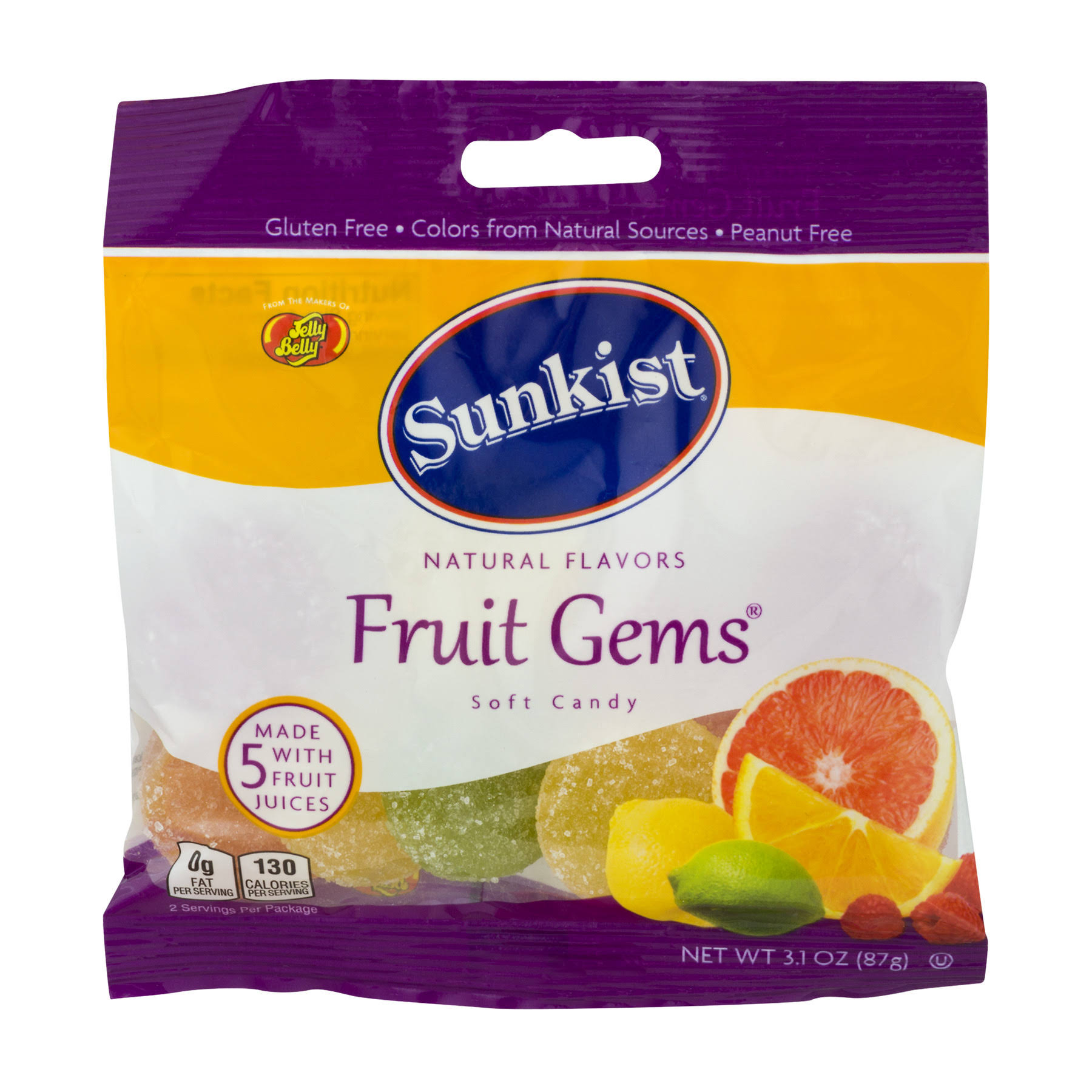 Jelly Belly Sunkist Fruit Gems Soft Candy - 3.1oz