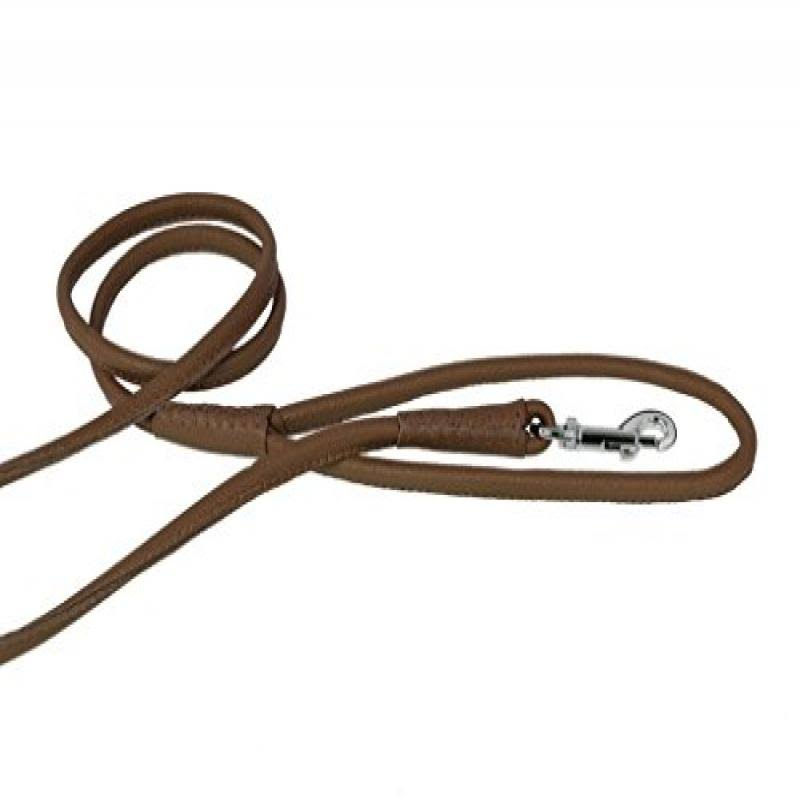 Dogline Soft and Padded Rolled Round Leather Leash for Dogs - Brown