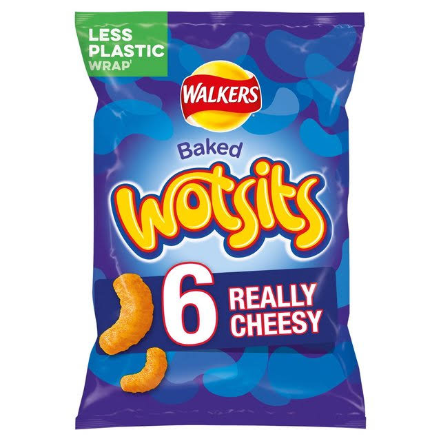 Walkers Baked Wotsits Corn Puffs - Really Cheesy, x6