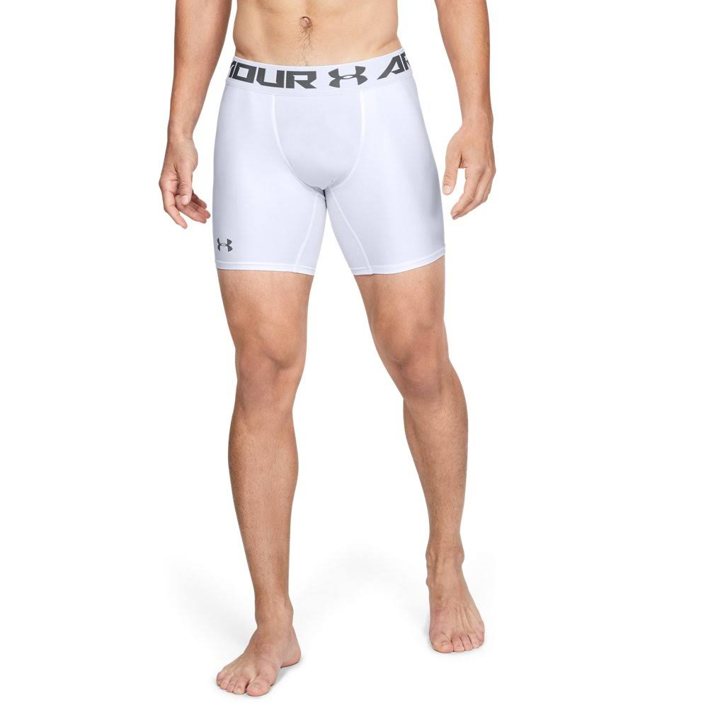 Under Armour Heatgear Armour Compression Shorts - White and Graphite