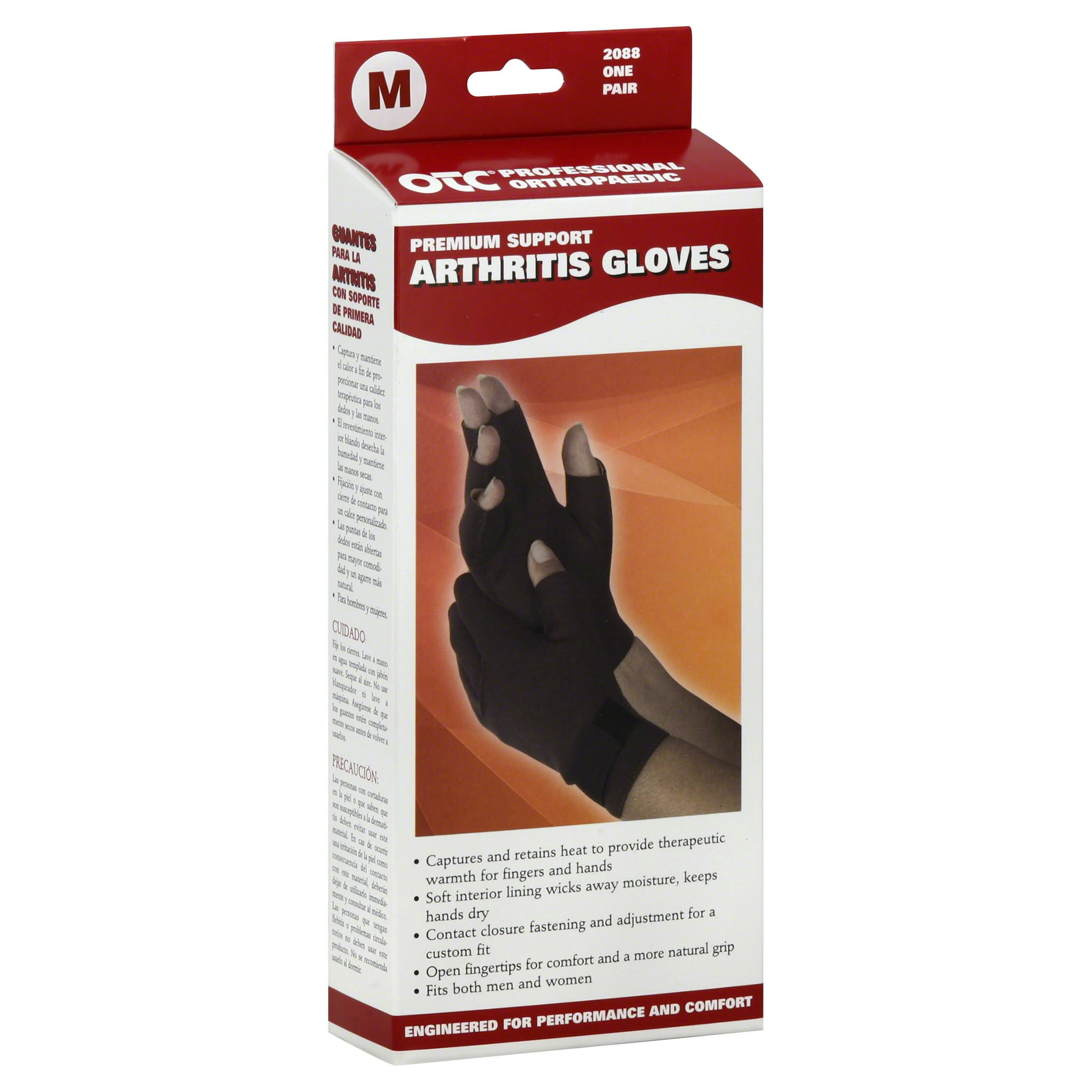 OTC Premium Support Arthritis Gloves - Black, Medium