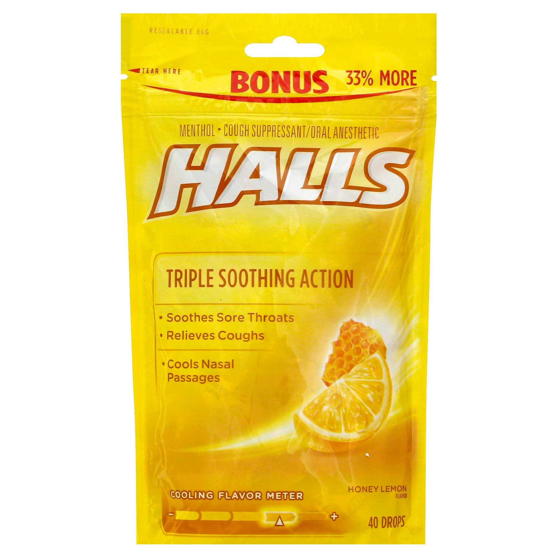 Halls Honey Lemon Cough Drops - 40 Drops